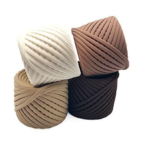T-Shirt Yarn Fettuccini Zpagetti Set - 4 Balls Total of 218 Yards - Tshirt Yarn Kit for Crocheting - Ribbon Yarn 100% Cotton - Knitting Yarn Ball - T Yarn Organic - Macrame T-Yarn Chicago