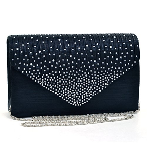 Womens Envelope Flap Clutch Handbag Evening Bag Purse Rhinestone Crystal Glitter Sequin Party Black