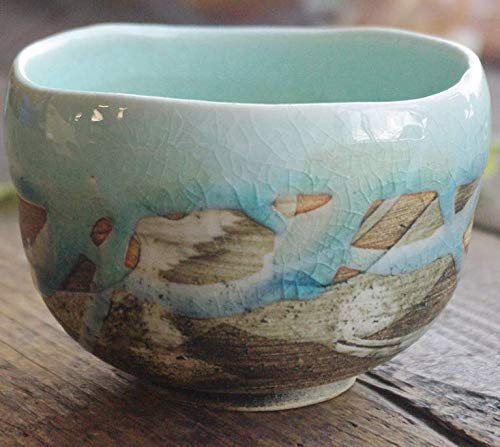 Matcha bowl 4.33'' dia. Japanese tea cup for tea ceremony, Authentic Mino Ware Pottery, Chawan, Sky-blue crackle glaze pattern M5897 from Japan