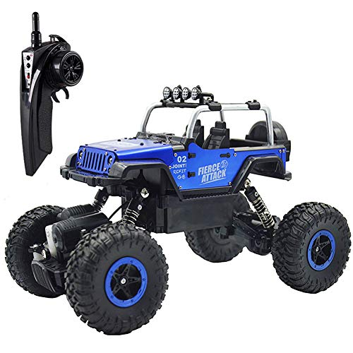 RC Cars Off-Road Vehicles Jeep Trucks 4WD RC Trucks 1:18 Monster Trucks 2.4GHz RC Hobby Cars High Speed Racing Cars with LED Light - - Rc Blue Truck