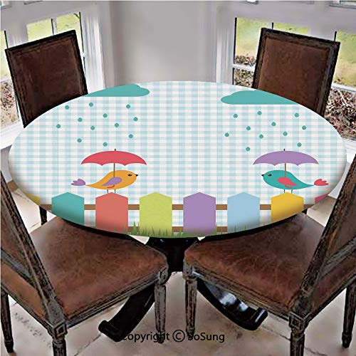 Elastic Edged Polyester Fitted Table Cover,Funny Colorful Birds Cartoon under Umbrellas on the Fence Love Clouds Rain Design Home,Fits up 45