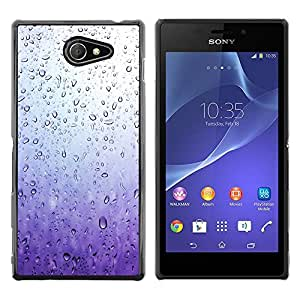 Exotic-Star ( Purple Glass Raindrops Water Sad Spring ) Fundas Cover Cubre Hard Case Cover para Sony Xperia M2 / Xperia M2 Aqua / Sony Xperia M2 Dual