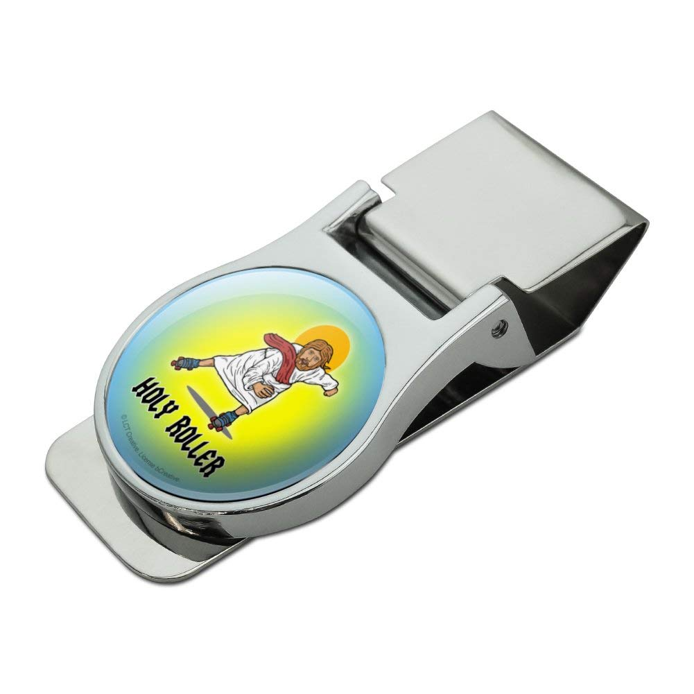 Holy Roller Jesus Roller Skating Funny Humor Satin Chrome Plated Metal Money Clip