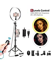 Neewer Dimmable 10-inch LED Ring Light with 47Inches Tripod Stand, Cellphone Holder Compatible with iPhone Xs Max XR Android Suitable for Live Streaming/YouTube/Tiktok/Makeup/Video Shooting