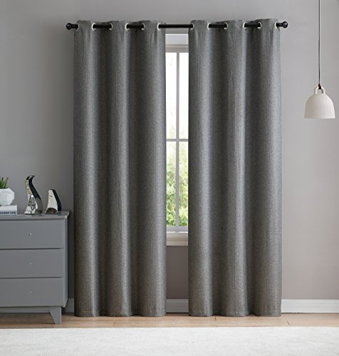 Classic Panel Window Silk - VCNY Home Salma Faux Silk Blackout Curtain Panel Pair 76x96 Charcoal