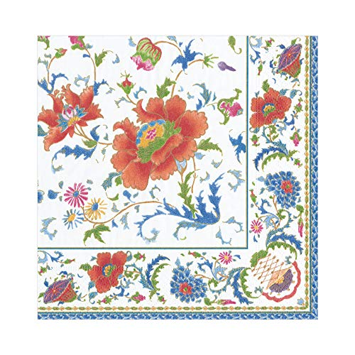 Caspari Chinese Ceramic Paper Luncheon Napkins in White, Two Packs of 20