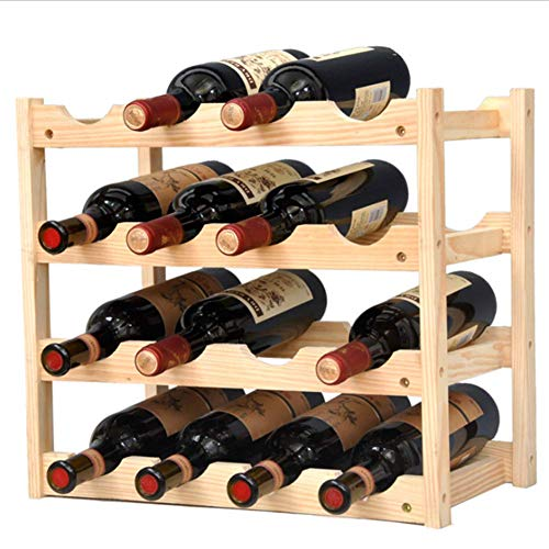 Pine Wine Holder 4 Layer 16 Bottles Wood Wine Rack Wine Shelf Wine Cabinet Display Stand for Home Living Room Kitchen Bar Solid Wood – Manual Assembly