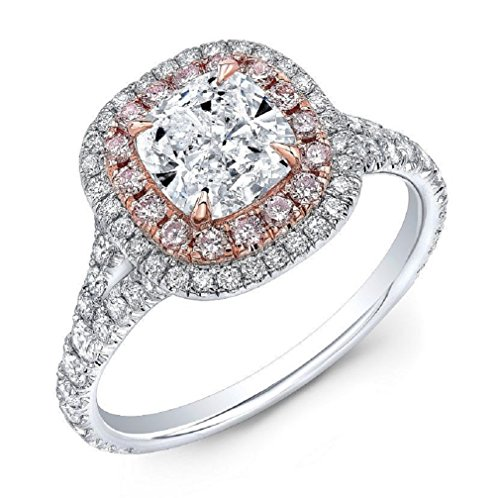 DIAMOND MANSION Cushion Cut Double Halo Split Shank with Pink Diamonds Engagement Ring - GIA Certified (White Gold, -