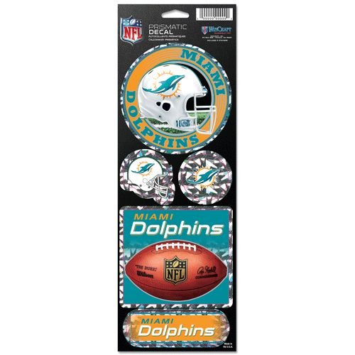 Dolphins Miami Colors (WinCraft NFL Miami Dolphins Prismatic Stickers, Team Color, One Size)
