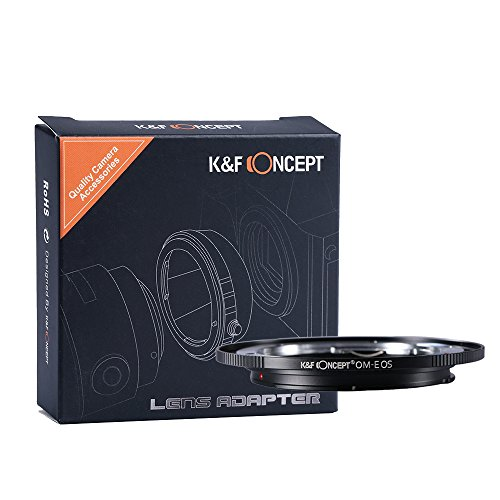 K&F Concept Lens Mount Adapter, Olympus OM Lens to Canon EOS EF Camera for Canon EOS 1D, 1DS, Mark II, III, IV, 5D, Mark II, 7D, 40D, 50D, 60D, 70D, Digital Rebel T2i, T3, T3i, T4i, T5i, SL1 by K&F Concept