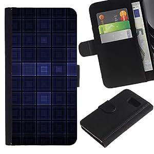 Planetar® Modelo colorido cuero carpeta tirón caso cubierta piel Holster Funda protección Para Samsung Galaxy S6 ( Dark Blue Modern Wallpaper cuadros Square )