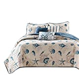 Discount Bedding Sets King mixinni Seashell Beach Bedding Set King Size Beach Theme Quilt Set with Shams Shell Print Pattern Ocean 100% Cotton Resversible Bedspread/Patchwork Quilt