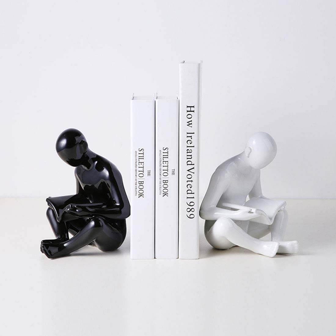 Ceramic Reading Bookend 1 Pair,Decorative Figurine Accent Piece for Home,Office,Table and Desk Decor (White and Black)