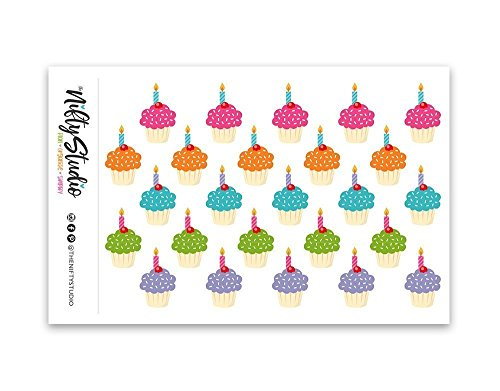 Cupcake Stickers | Planner Stickers | 1 sheet of 25 stickers | The Nifty Studio [115]