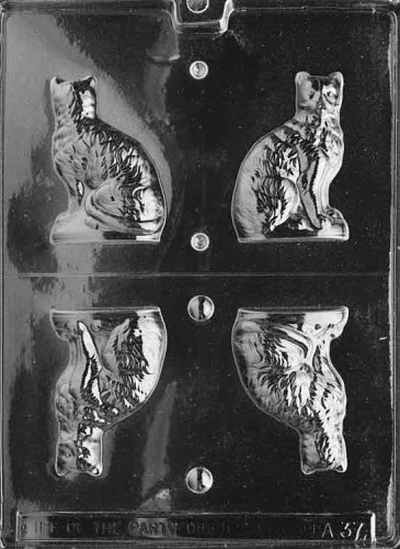 Cybrtrayd Life of the Party A037 3D Cat Chocolate Candy Mold in Sealed Protective Poly Bag Imprinted with Copyrighted Cybrtrayd Molding Instructions