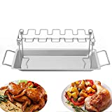 Foviza Stainless Steel Chicken Wing Leg Rack Grill Holder with Drip Pan for Cooking BBQ