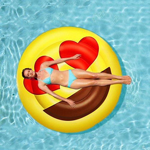 BH Home Inflatables: Giant Emoji Love Heart Eyes Inflatable Pool Float Raft, 5 Feet