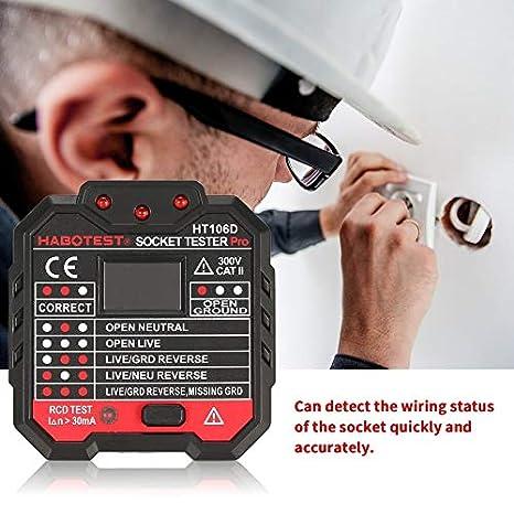 Testeurs de prise HABOTEST HT106D Test de tension D/étecteur de prise Prise UE Prise de terre Prise de ligne z/éro Prise de polarit/é V/érification de phase Noir