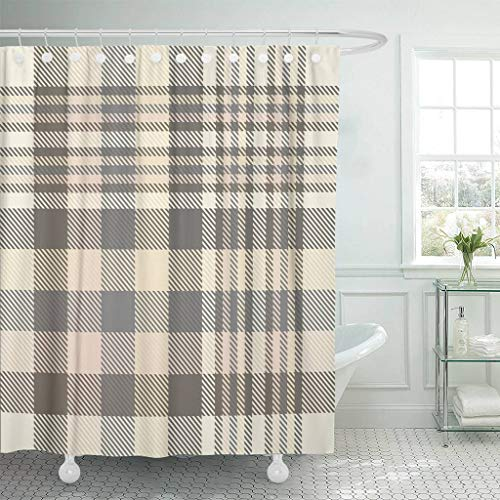 Emvency Fabric Shower Curtain with Hooks Gray Border Tartan Plaid Pattern in Shades of Cream Beige Brown and Grey Tan Check 72