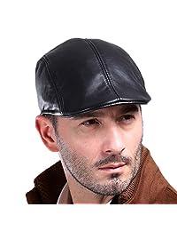 VEMOLLA Men's Real Leather Fashion Newsboy Ivy Cabbie Cap Gatsby Flat Golf Hat