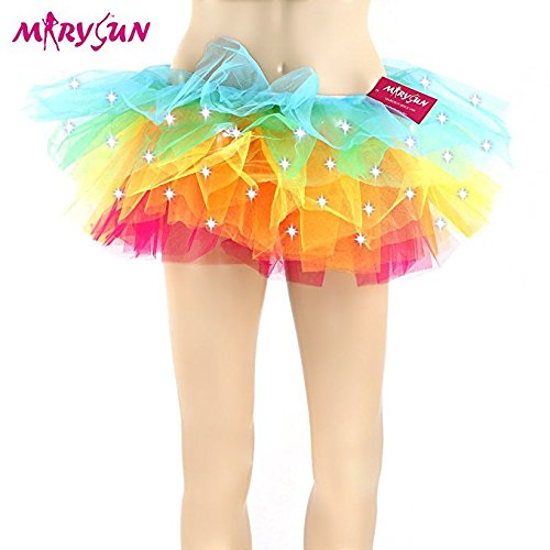 Adult Tutu Led Tutu Neon Rainbow Black Tutu for Women 80s Costume Tutu Skirt (The 80s Outfits)