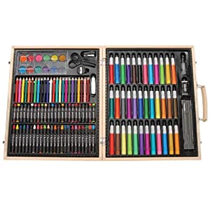 Darice 1103-10 131-Piece Premium Art Set – Art Supplies for Drawing, Painting and More in a Wood Case - Makes a Great Gift for Children and Adults