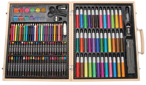 Darice 1103-10 131-Piece Premium Art Set – Art Supplies for Drawing, Painting and More in a Wood Case - Makes a Great Gift for Children and Adults -