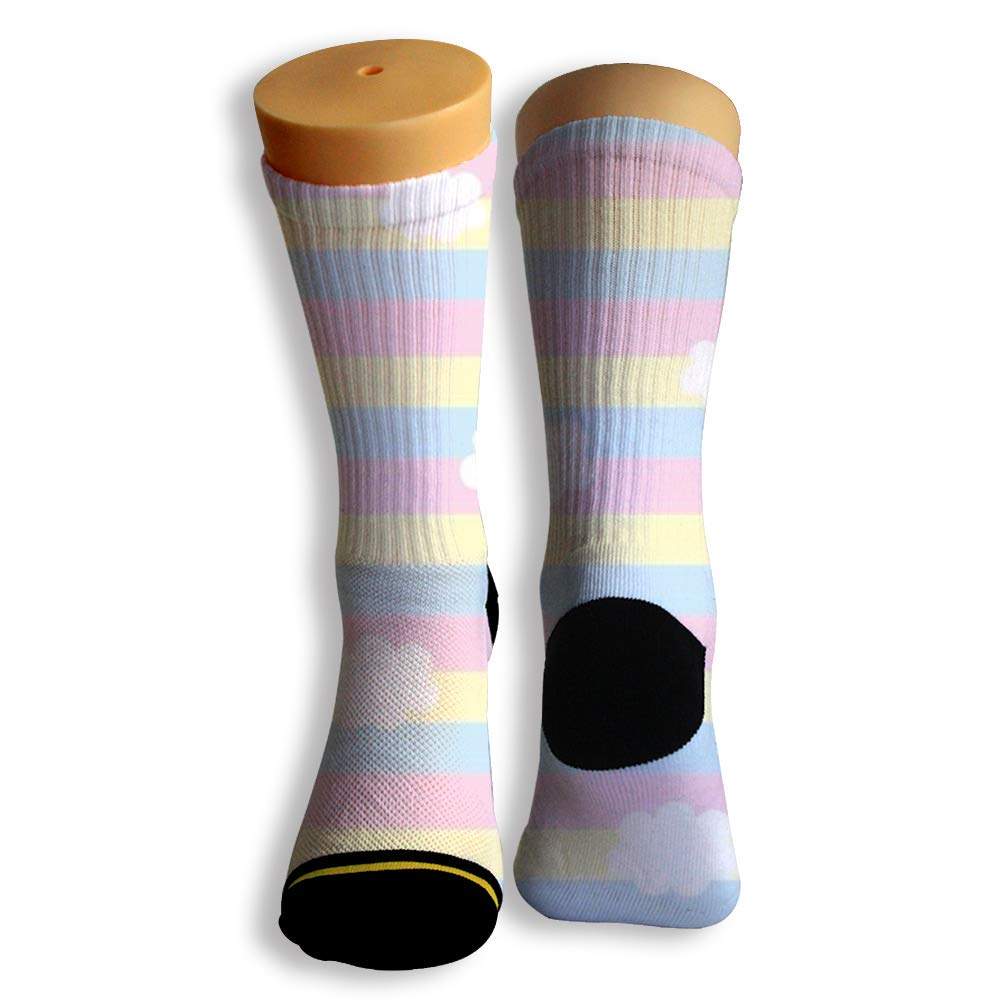 Basketball Soccer Baseball Socks by Potooy Colorful Rainbow Poster 3D Print Cushion Athletic Crew Socks for Men Women