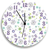 Butterfly Garden Party Purple Wall Clock for Girls Bedroom, Nursery Wall Decor for Girls Bedroom, Baby Girls Nursery Wall Hanging