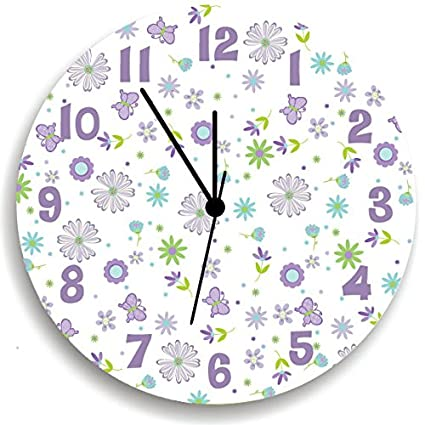 Fabulous Butterfly Garden Party Purple Wall Clock For Girls Bedroom Nursery Wall Decor For Girls Bedroom Baby Girls Nursery Wall Hanging Download Free Architecture Designs Oxytwazosbritishbridgeorg