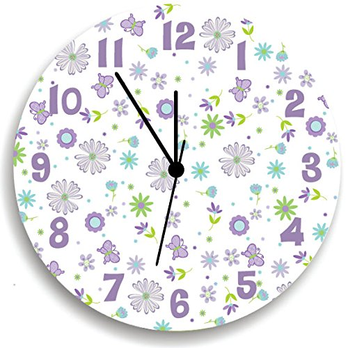 Butterfly Garden Party Purple Wall Clock for Girls Bedroom, Nursery Wall Decor for Girls Bedroom, Baby Girls Nursery Wall Hanging by Kid O