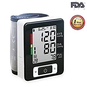 Wrist Blood Pressure Monitor Accurately Monitor with 90 Memory Capacity,Heart Rate & Irregular Heartbeat Detector, Date and Time (Black)