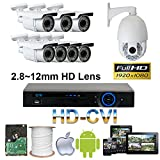 GW Security 8 Channel HD-CVI Camera HD 1080P CCTV DVR Kit : 7 x 1080P 2.8-12mm Varifocal Manual Zoom Cameras 160FT IR Night Vision + 1 x 1080P HD-CVI PTZ Camera 20 times Zoom + 1 x 4TB HDD