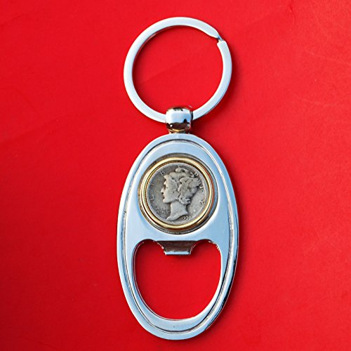 US 1930 Mercury Dime 90% Silver 10 Cent Coin Gold Silver Two Tone Key Chain Ring Bottle Opener - Mercury Value Dime