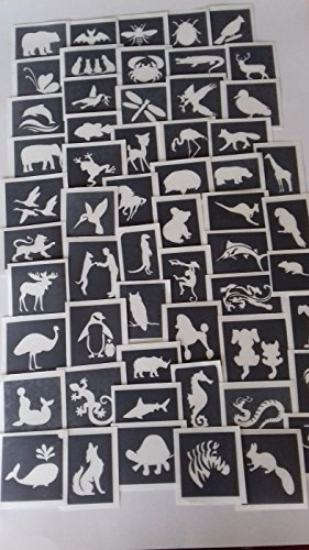 25 x animal stencils for etching on glass mixed gift present glassware hobby craft cat lion monkey swan dog meerkat by Dazzle Glitter Tattoos