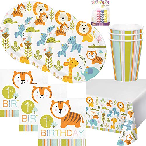 Happi Jungle Birthday Theme 1st Party Supplies Pack (Serves-16) Dinner Plates, Luncheon Napkins, Cups and Table Cover - First Zoo Party Supply Tableware Set Kit Includes Birthday Candles ()