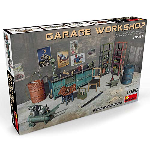 Plastic Model Kit - Garage Workshop - 1/35 Scale Diorama Accessories - Plastic Model Kits to Build for Adults - Military Miniatures