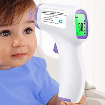 Digital Infrarot LCD Stirnthermometer Kontaktlos Baby Kinder Fieberthermometer