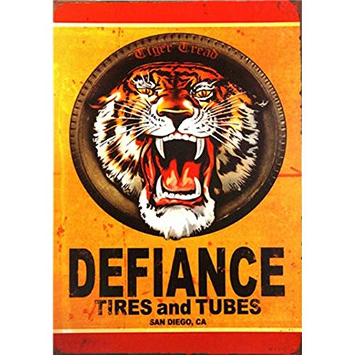 JUMBO FILTER Tiger Metal Sign Defiance Tire and Tubes Metal Poster San Diego, CA Tin Sign for Wall Home Decor 30×20cm Wall Mount Plaque for Bar/Pub/Club ()