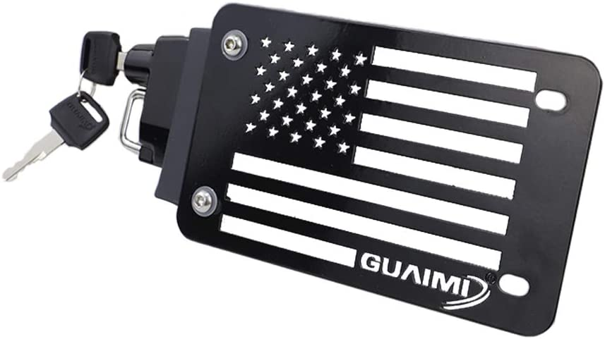 GUAIMI License Plate Helmet Security Lock with Mount Carved American Flag Left Side Anti-Theft Helmet Lock Universal Fit for Motorcycles with Flat Brackets-Black