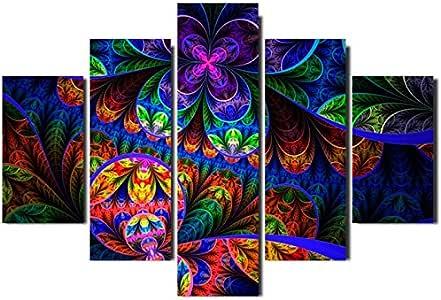 Painel Mosaico 5 Partes Floral Fractal Psicodelico: Amazon