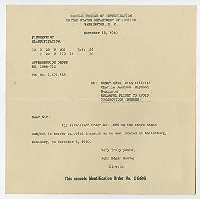 """FBI Apprehension Order 1940 - Henry Bush - Whitesburg, Kentucky - """"Murder"""""""