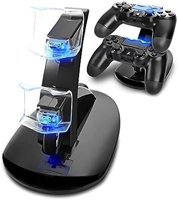 Cargador Mando PS4, Tihokile Dual USB Cargador para Playstation 4 PS4 Pro PS4 Slim Dock Stand con Indicador LED: Amazon.es: Videojuegos
