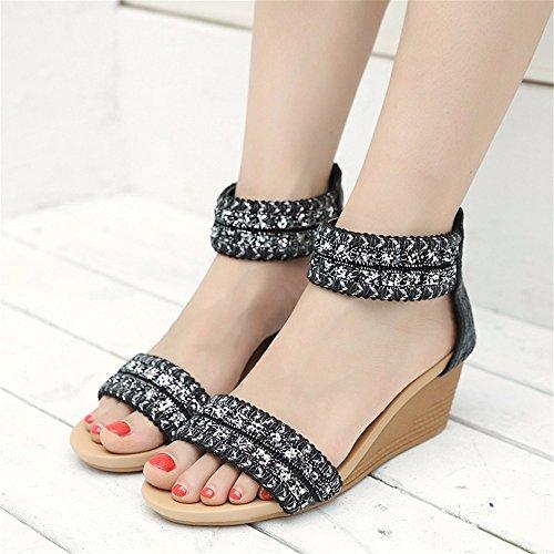 señoras Deslizamiento Sandalias de Verano Zapatos Dedo cuña B Playa Pendiente YMFIE del pie Abierto Simia de cómodo TAW7f