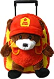 Kreative Kids Adorable Fire Chief Bear Rolling Backpack w/Removable Stuffed Toy & Wheels
