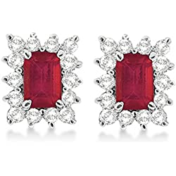 Emerald-Cut Ruby and Diamond Stud Earrings 14k White Gold (1.80ctw)