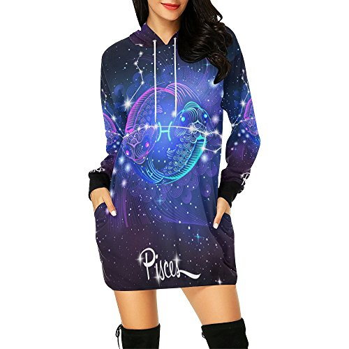 Constellation Zodiac Sign Pisces Women's Pullover Hoodie Sweatshirt Dress