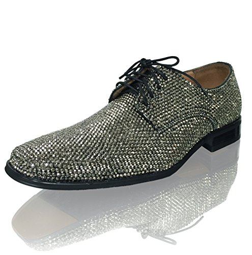Marc Defang New York Mens Hematite Crystal Celebrity Groom Wedding Leather shoes (8M US) by Marc Defang New York