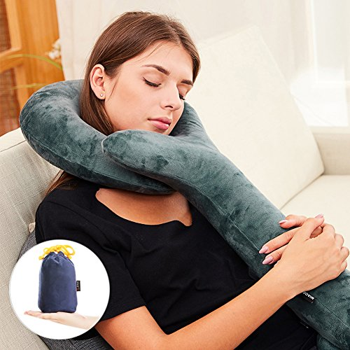 Comfort Neck Button (Inflatable Travel Pillow-Push-Button Inflatable Neck Pillow - Luxury Velvet Super Comfort and Support for the Head ,Neck, Chin-Travel Pillow(Machine-Washable)-by Sptlimes)