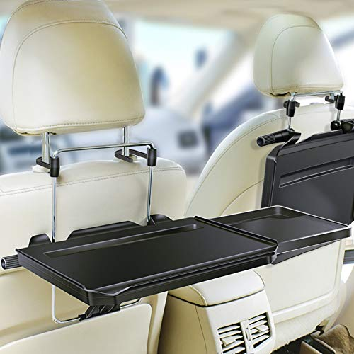 ElfAnt Multi-functional Car Steering Wheel Vehicle Seat Portable Tray Car bracket Laptop Notebook Desk Table Car Dining Food Drink Desk Cup Holder with Extended Pull Type Small Table (Car Small Table)